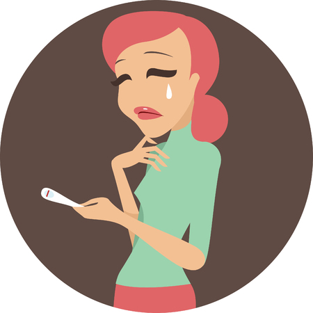 pregnancy test: Unhappy woman with negative pregnancy test result Illustration