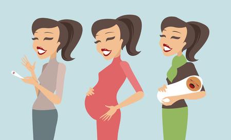 abdomen plano: Embarazo Etapas trimestres y mujer embarazada y el bebé al nacer
