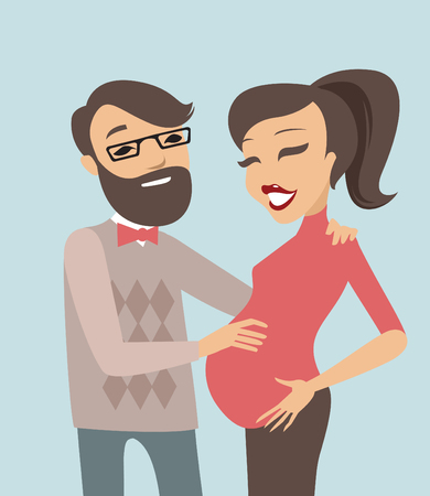 happy couple: Happy and young pregnant couple flat illustration Illustration