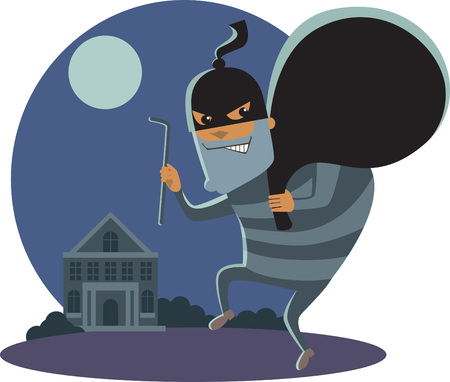 hand key: Robber at night with robbery mask holding a sack and  a scrap