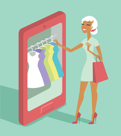 shop sign: Woman using smartphone to choose a dress sonline shopping concept
