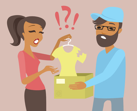 young woman received a parcel with defective goods online shopping and delivery concept Illustration