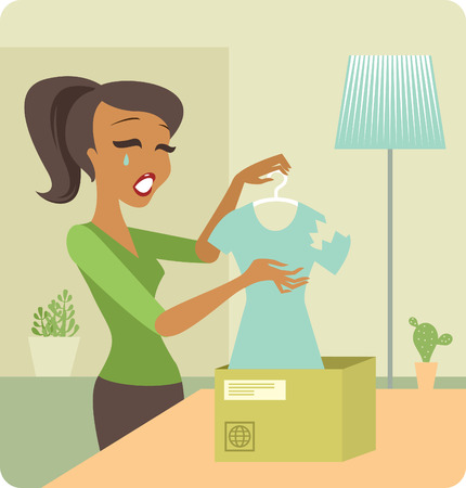 defective: young woman received a parcel with defective goods online shopping and delivery concept Illustration