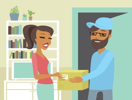 Szczęśliwa kobieta odbiera paczkę od kuriera w domu e-commerce