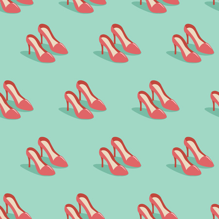 red shoes: Woman red shoes flat seamless pattern