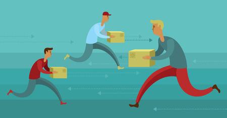 Diseño plano colorido concepto de ilustración para el servicio de entrega de mensajería