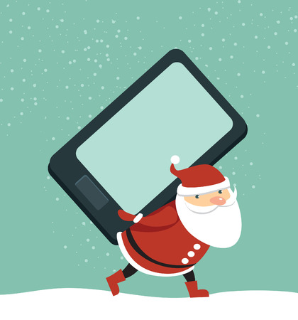 Funny Santa Claus holding huge smartphone cartoon style