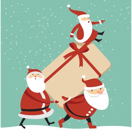 Three Santas with huge gift box cartoon illustration Illustration