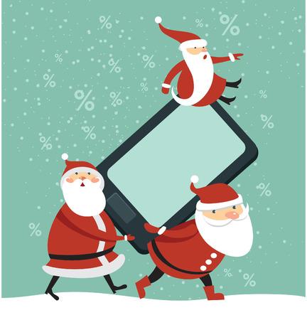 Three funny Santas holding huge brand new smartphone Illustration