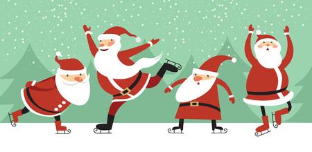 ice slide: Santa Clauses on ice rink  cartoon character