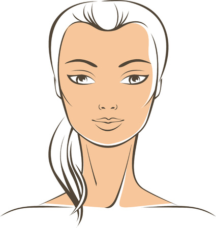 close up face woman: Simple outline drawing of pure female face Illustration