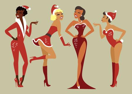 Sexy Pin up Santa girls vector set Illustration