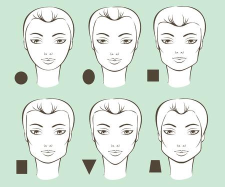 forme: Jeu de différentes formes visage féminin vecteur