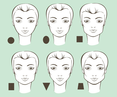 shape: Set of different female face shapes vector