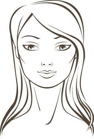 elegant woman: Outline portrait of a young caucasian woman Illustration