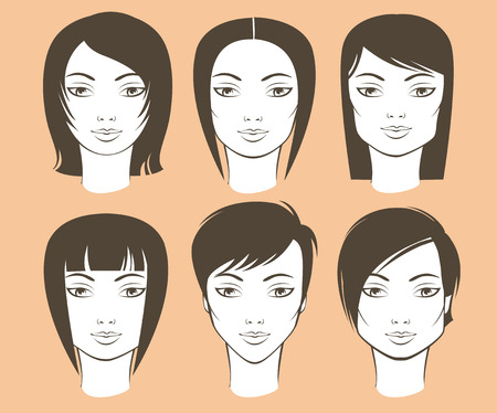 Different female face shapes and matching haircuts