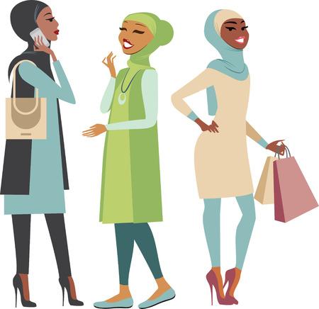 chicas de compras: ilustración vectorial de un moderno muchachas musulmanes Vectores
