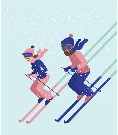 Young couple have fun while skiing flat vector