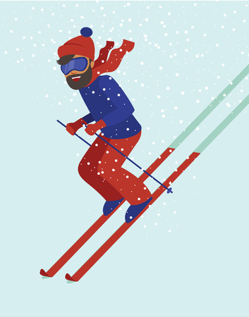 sport cartoon: Young hipster have fun while skiing flat vector