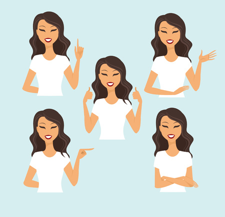 different thinking: Young woman making different gestures vector set
