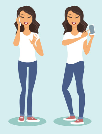 holding smart phone: Young casual woman character using smartphone vector