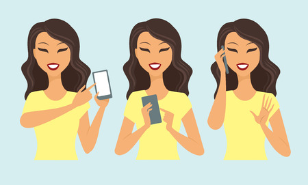 hand phone: Young casual woman character using smartphone vector