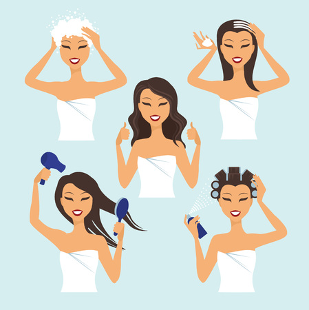 hair mask: Young girl treat and style her hair at home Illustration