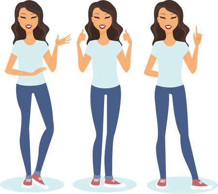 Young woman making different gestures vector set