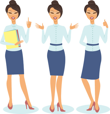 Set of smiling cartoon businesswoman with different gestures Illustration
