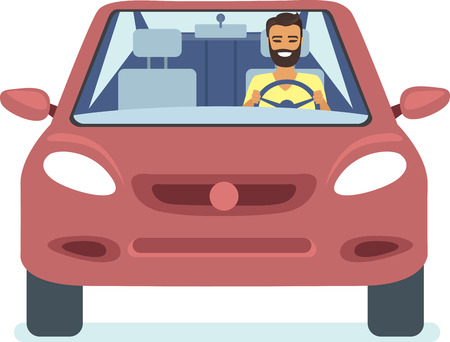 driving a car: Happy young man driving red car flat vector