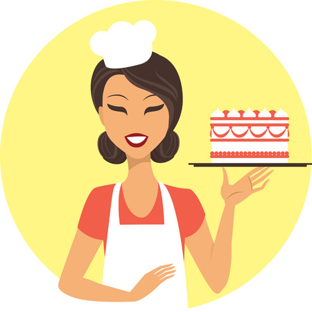 confectioner: Young girl confectioner holding tray with birthday cake