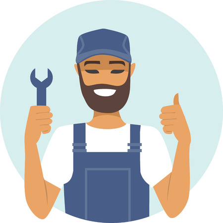 confident: Young confident handyman character thumbs up