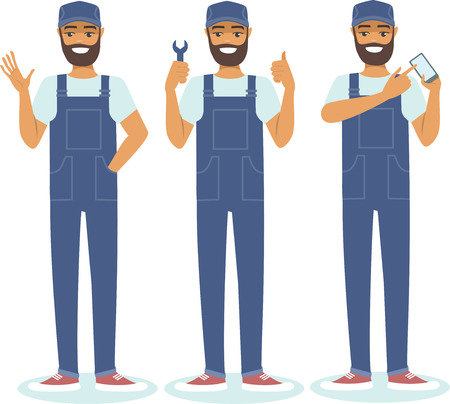 confident: Young confident handyman character set vector illustration