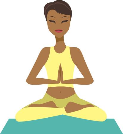 joga: Young cartoon girl in yoga lotus pose