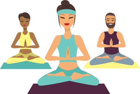 joga: Group of people  doing yoga flat vector illustration Illustration