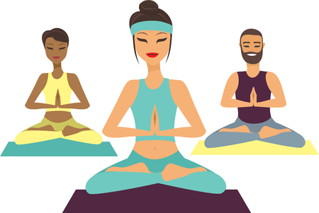 Group of people  doing yoga flat vector illustration Illustration