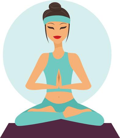 Young cartoon girl in yoga lotus pose