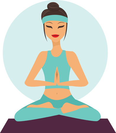 harmony nature: Young cartoon girl in yoga lotus pose