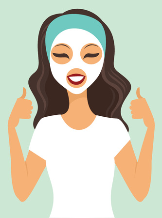 young girl: Young girl applying white beauty mask vector Illustration