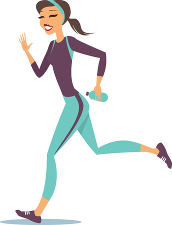 jogging: Young woman in sportweear running on white background Illustration