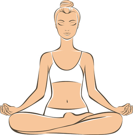 meditative: Young woman practicing yoga in lotus position