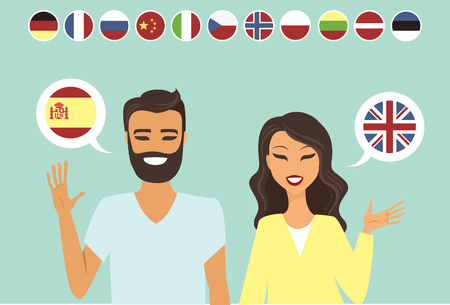multiracial: Couple speaking different languges flat vector illustration