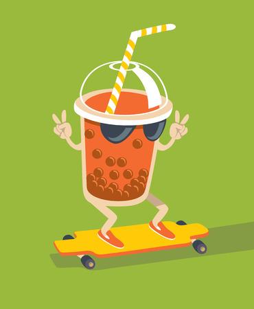 Bubble Tea character skating on longboard flat style vector Illustration