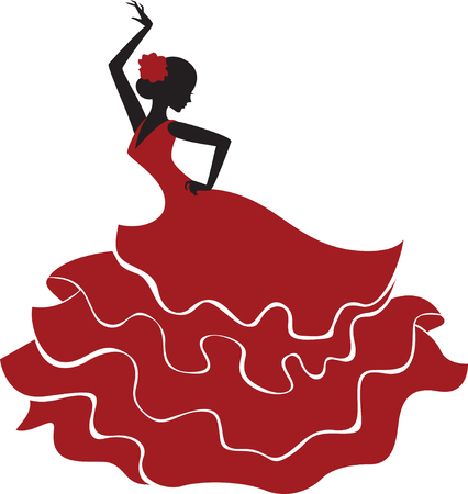 Silhouette of a young spanish girl in traditional dress dancing flamenco Ilustração