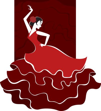 young spanish girl in traditional dress dancing flamenco