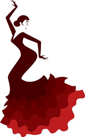 伝統的なドレスダンスフラメンコでスペインの女の子のレトロなスタイルのシルエット