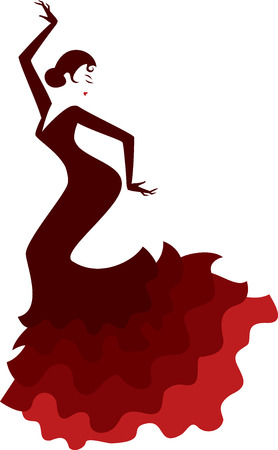 retro style silhouette of a spanish girl in traditional dress dancing flamenco