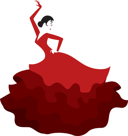 retro style silhouette of a spanish girl dancing