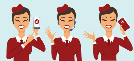 Set of three cabin crew characters customers support concept