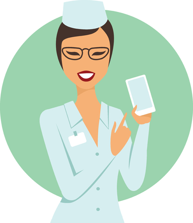 Young confident female doctor holding smartphone